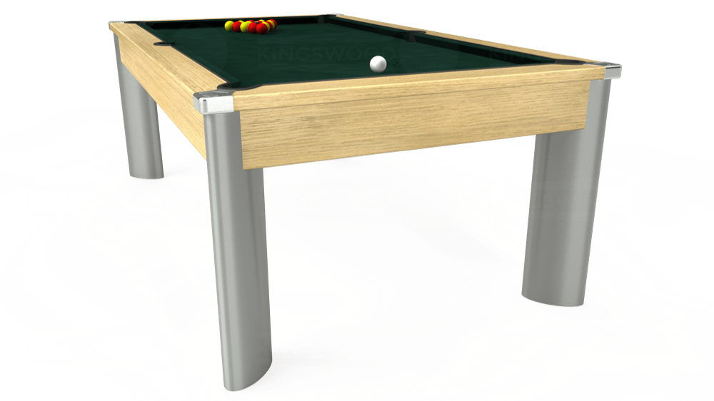 7ft Fusion Pool Dining Table in Light Oak with Hainsworth Smart Ranger Green cloth delivered and installed - £1,350.00