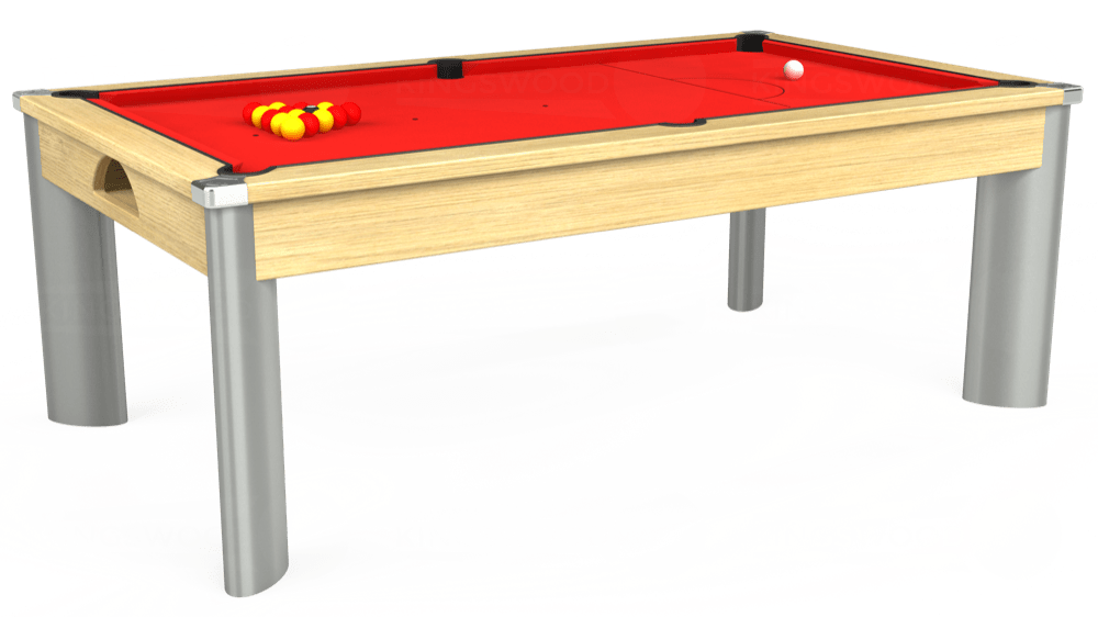 7ft Fusion Pool Dining Table in Light Oak with Hainsworth Smart Red cloth delivered and installed - £1,350.00