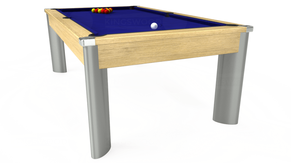 7ft Fusion Pool Dining Table in Light Oak with Hainsworth Smart Royal Blue cloth delivered and installed - £1,350.00