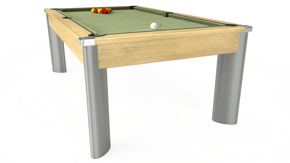 7ft Fusion Pool Dining Table in Light Oak with Hainsworth Smart Sage cloth delivered and installed - £1,350.00