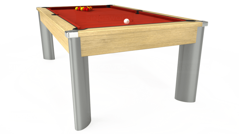 7ft Fusion Pool Dining Table in Light Oak with Hainsworth Smart Windsor Red cloth delivered and installed - £1,150.00
