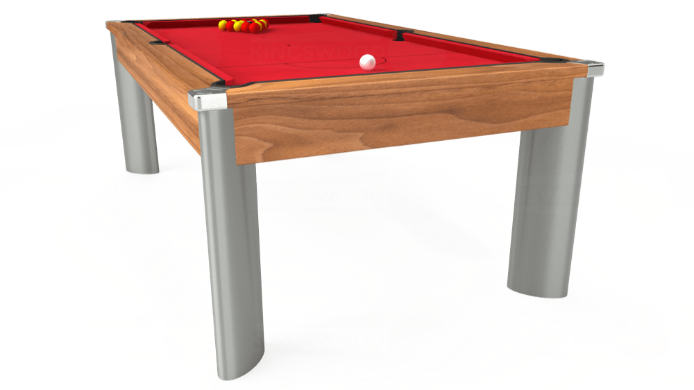 7ft Fusion Pool Dining Table in Light Walnut with Standard Red cloth delivered and installed - £1,250.00
