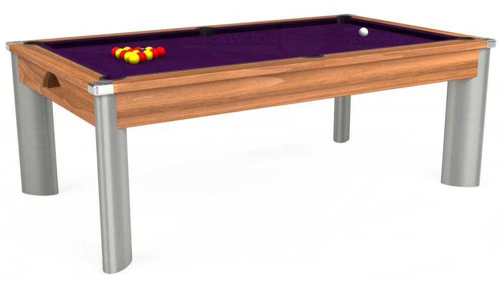7ft Fusion Pool Dining Table in Light Walnut with Hainsworth Elite-Pro Purple cloth delivered and installed - £1,350.00
