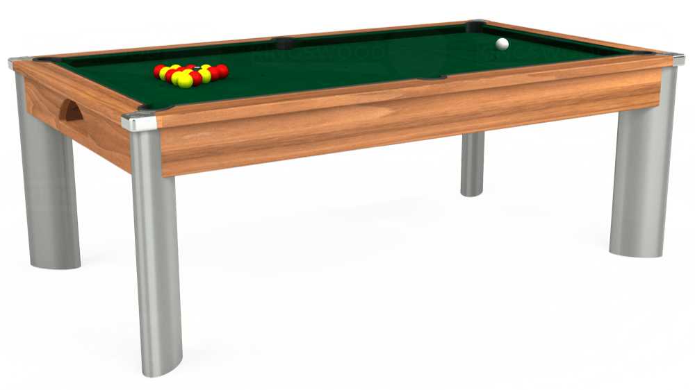 7ft Fusion Pool Dining Table in Light Walnut with Hainsworth Elite-Pro Spruce cloth delivered and installed - £1,320.00