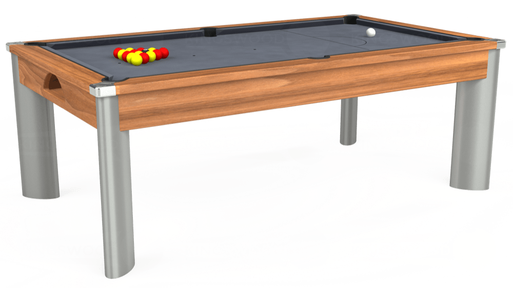 7ft Fusion Pool Dining Table in Light Walnut with Hainsworth Smart Silver cloth delivered and installed - £1,320.00