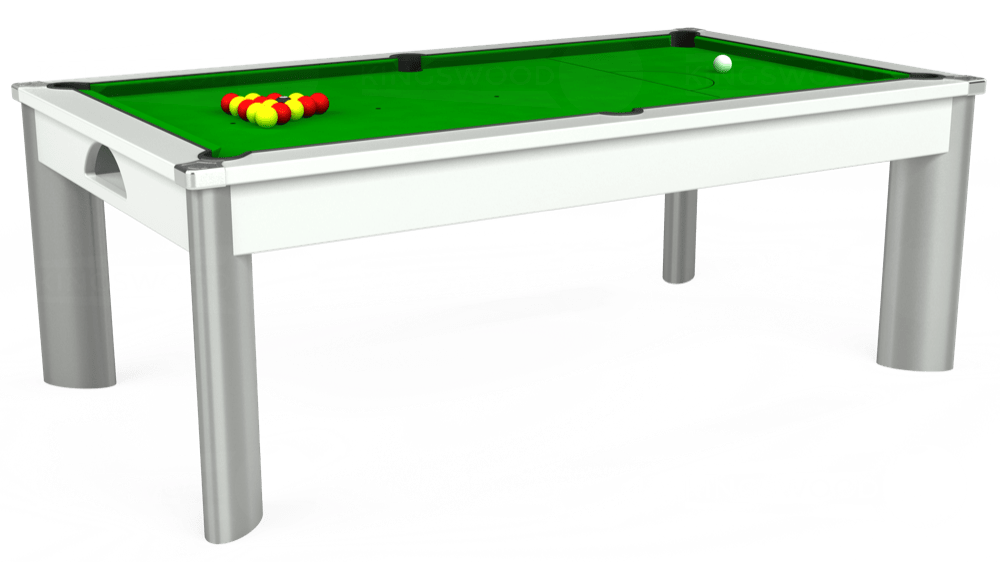7ft Fusion Pool Dining Table in White with Standard Green cloth delivered and installed - £1,250.00