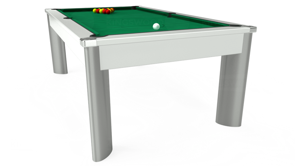 7ft Fusion Pool Dining Table in White with Hainsworth Elite-Pro American Green cloth delivered and installed - £1,350.00