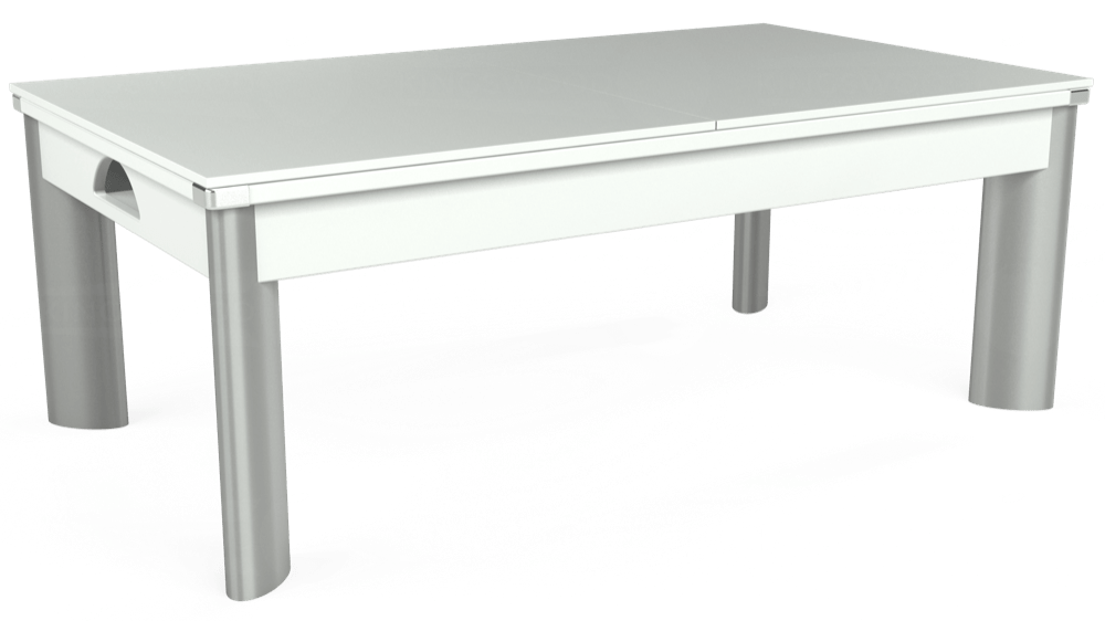 7ft Fusion Pool Dining Table in White with Hainsworth Elite-Pro Bankers Grey cloth delivered and installed - £1,270.00