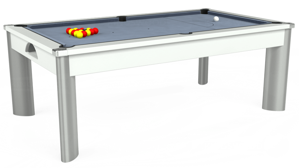 7ft Fusion Pool Dining Table in White with Hainsworth Elite-Pro Bankers Grey cloth delivered and installed - £1,350.00