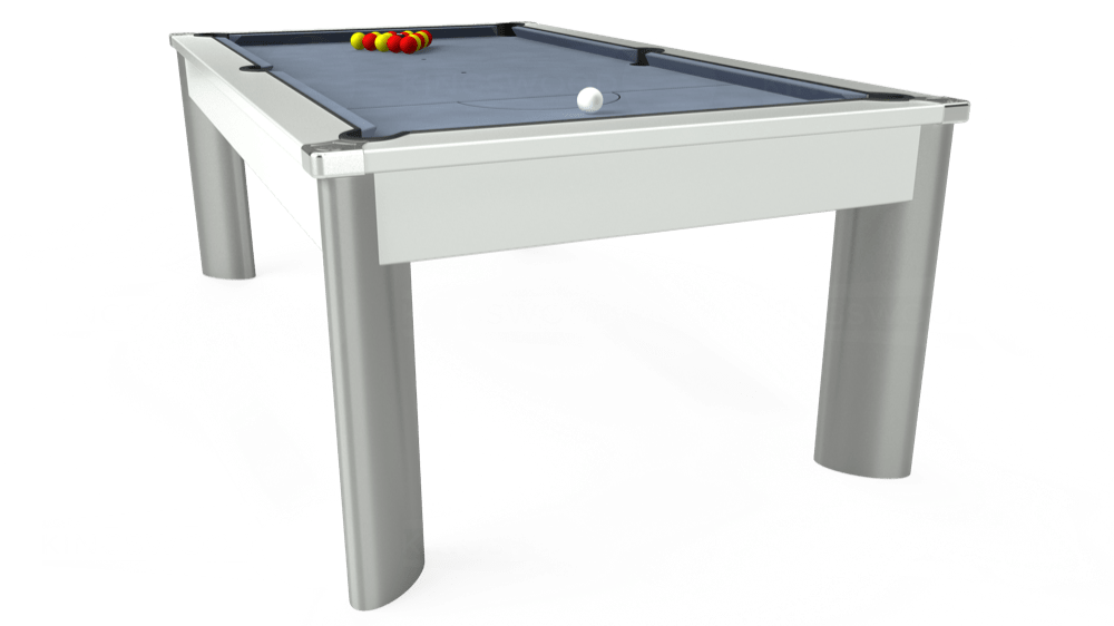 7ft Fusion Outdoor Pool Dining Table in White with Hainsworth Elite-Pro Bankers Grey cloth delivered and installed - £1,600.00