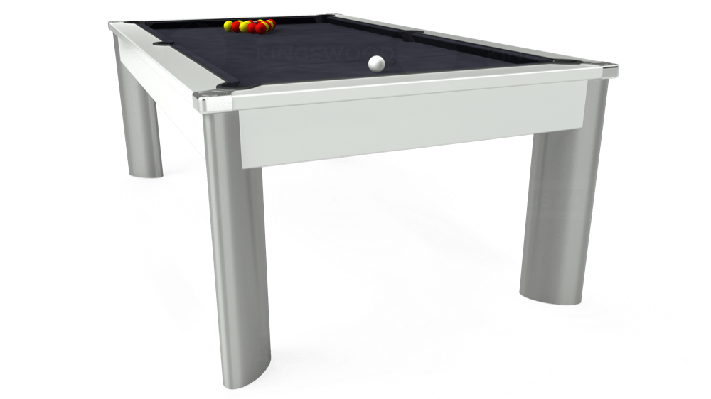 7ft Fusion Pool Dining Table in White with Hainsworth Elite-Pro Charcoal cloth delivered and installed - £1,320.00