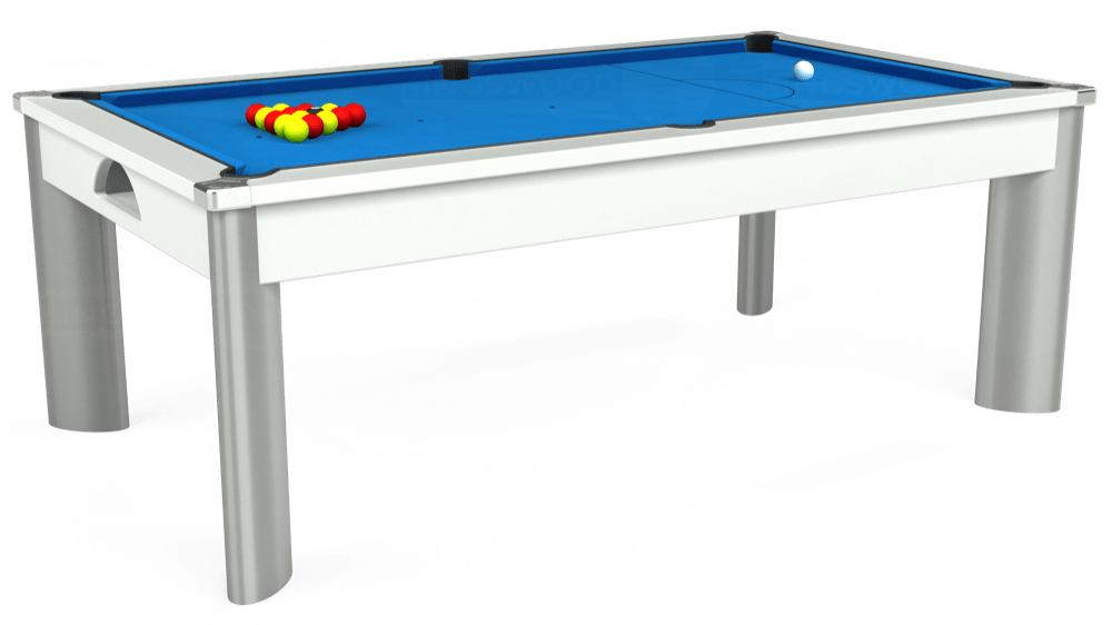 7ft Fusion Pool Dining Table in White with Hainsworth Elite-Pro Electric Blue cloth delivered and installed - £1,320.00