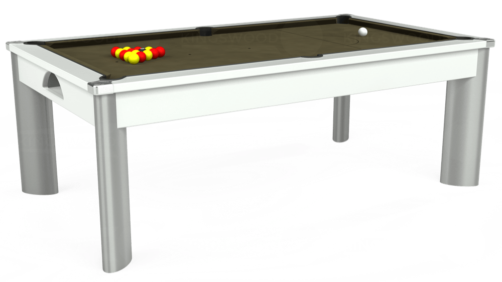 7ft Fusion Pool Dining Table in White with Hainsworth Elite-Pro Olive cloth delivered and installed - £1,350.00