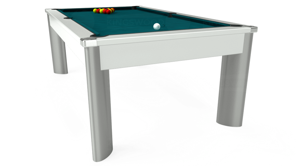 7ft Fusion Pool Dining Table in White with Hainsworth Elite-Pro Petrol Blue cloth delivered and installed - £1,320.00