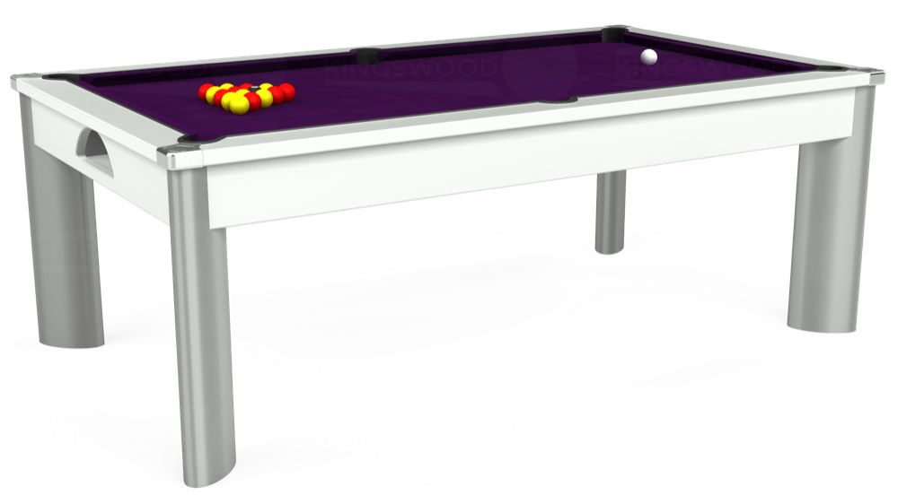 7ft Fusion Pool Dining Table in White with Hainsworth Elite-Pro Purple cloth delivered and installed - £1,350.00