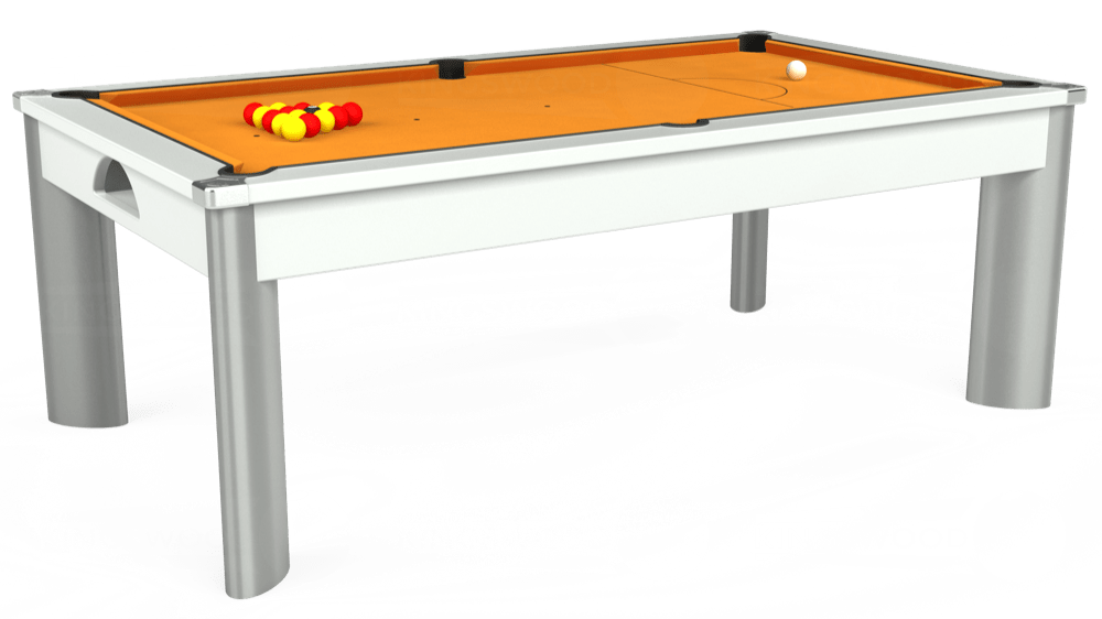 7ft Fusion Pool Dining Table in White with Hainsworth Smart Gold cloth delivered and installed - £1,320.00