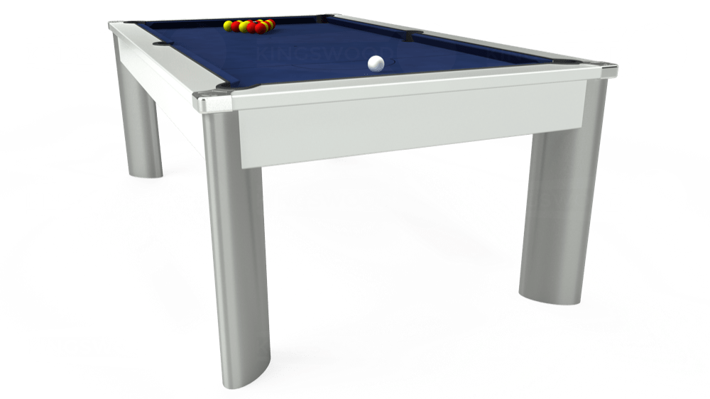 7ft Fusion Pool Dining Table in White with Hainsworth Smart Royal Navy cloth delivered and installed - £1,350.00