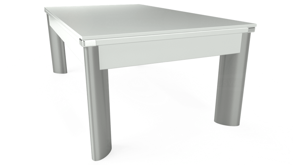 7ft Fusion Pool Dining Table in White with Hainsworth Smart Olive cloth delivered and installed - £1,350.00