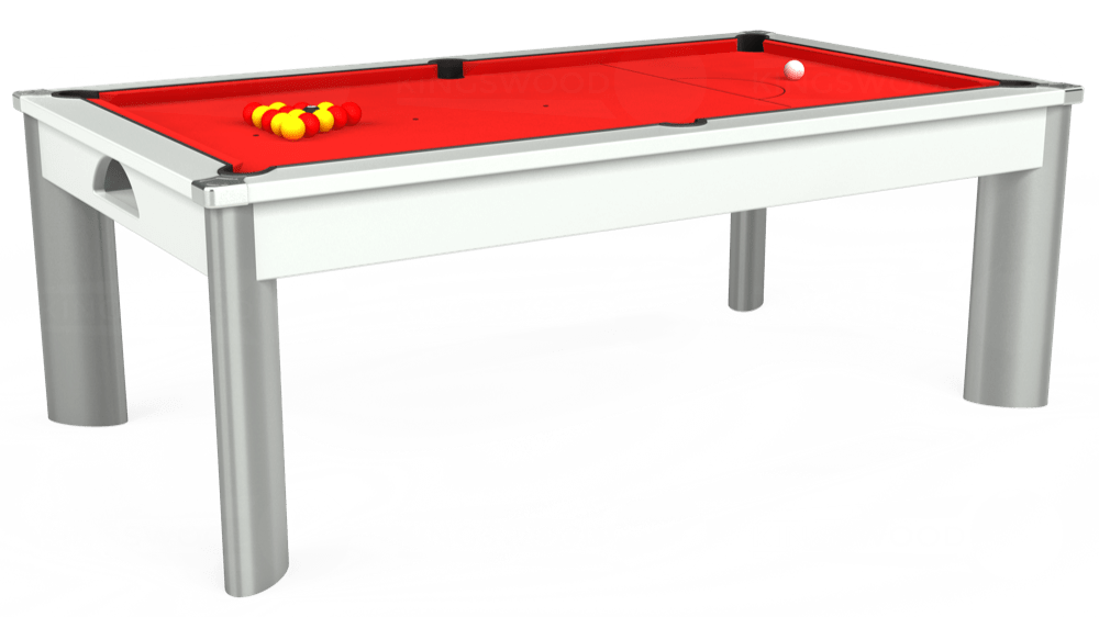 7ft Fusion Pool Dining Table in White with Hainsworth Smart Red cloth delivered and installed - £1,320.00