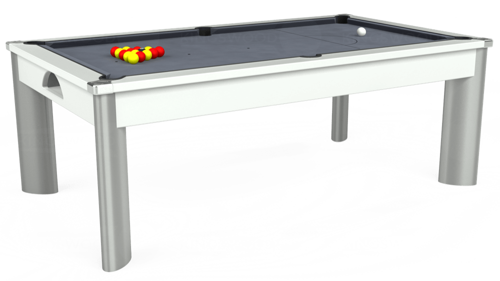 7ft Fusion Pool Dining Table in White with Hainsworth Smart Silver cloth delivered and installed - £1,350.00