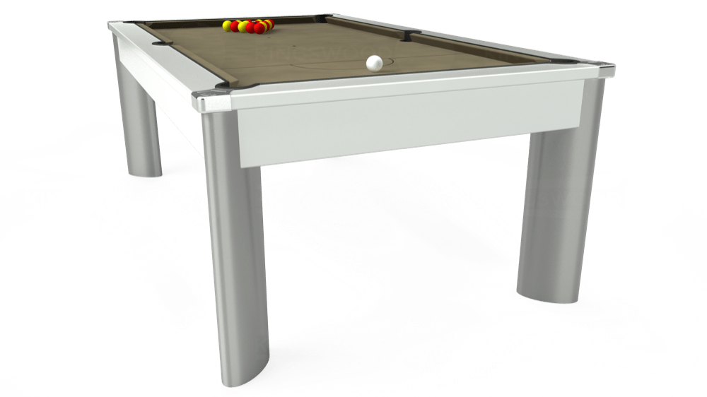 7ft Fusion Pool Dining Table in White with Hainsworth Smart Taupe cloth delivered and installed - £1,350.00