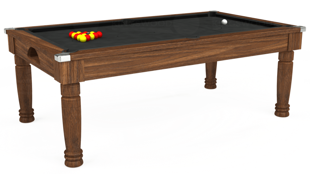 7ft Majestic Pool Dining Table in Dark Walnut with Standard Black cloth delivered and installed - £1,180.00