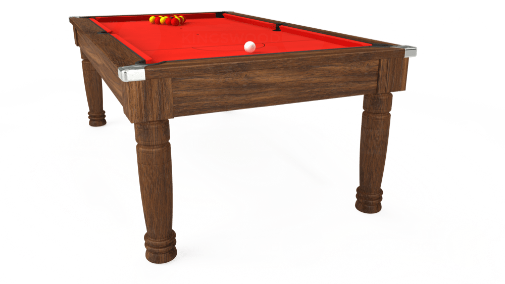 7ft Majestic Pool Dining Table in Dark Walnut with Hainsworth Elite-Pro Bright Red cloth delivered and installed - £1,280.00
