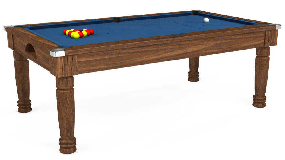 7ft Majestic Pool Dining Table in Dark Walnut with Hainsworth Elite-Pro Cadet Blue cloth delivered and installed - £1,280.00