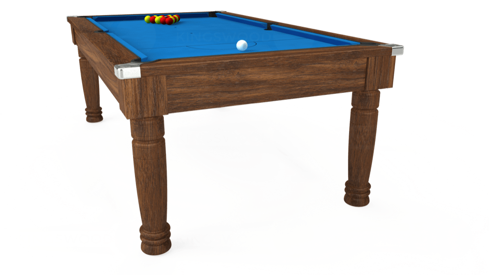 7ft Majestic Pool Dining Table in Dark Walnut with Hainsworth Elite-Pro Electric Blue cloth delivered and installed - £1,280.00