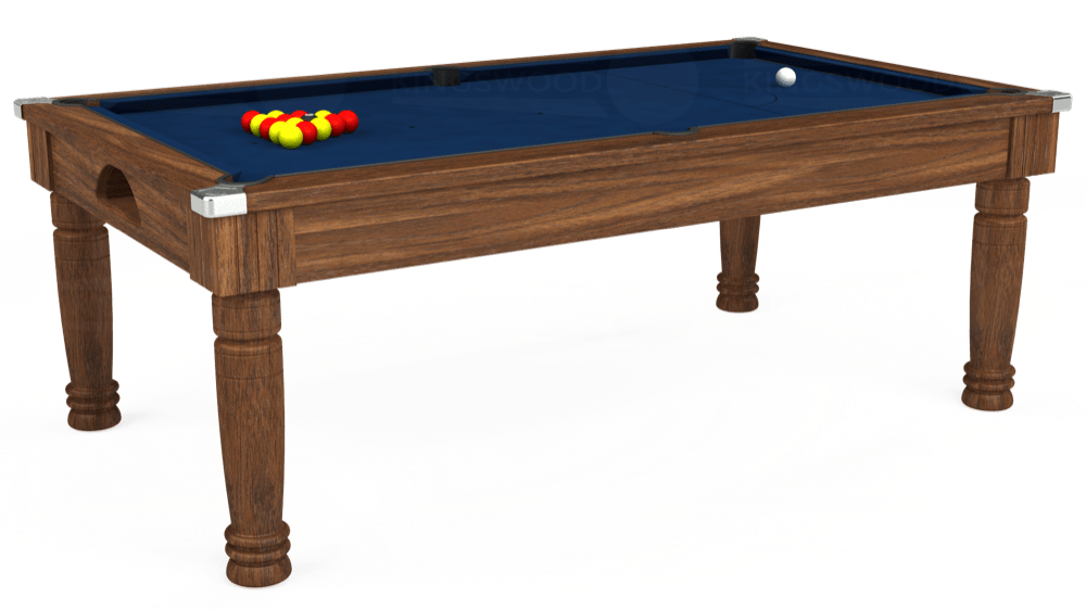 7ft Majestic Pool Dining Table in Dark Walnut with Hainsworth Elite-Pro Marine Blue cloth delivered and installed - £1,280.00