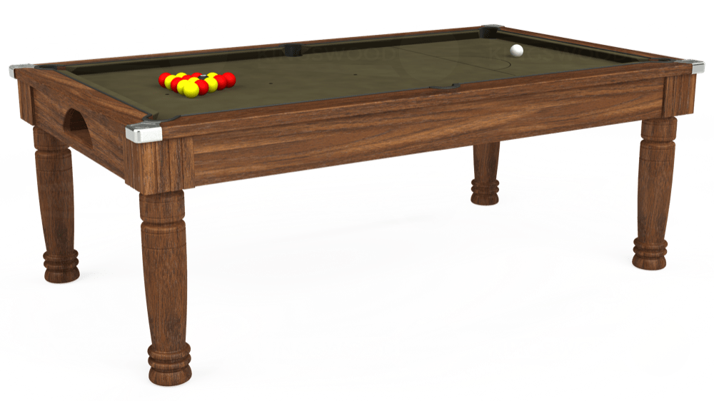 7ft Majestic Pool Dining Table in Dark Walnut with Hainsworth Elite-Pro Olive cloth delivered and installed - £1,280.00