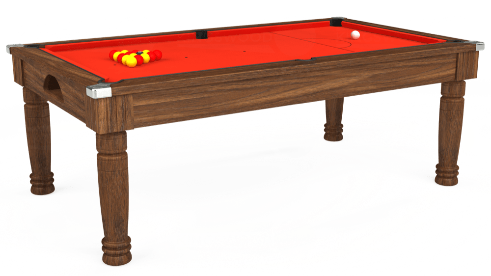 7ft Majestic Pool Dining Table in Dark Walnut with Hainsworth Elite-Pro Orange cloth delivered and installed - £1,180.00