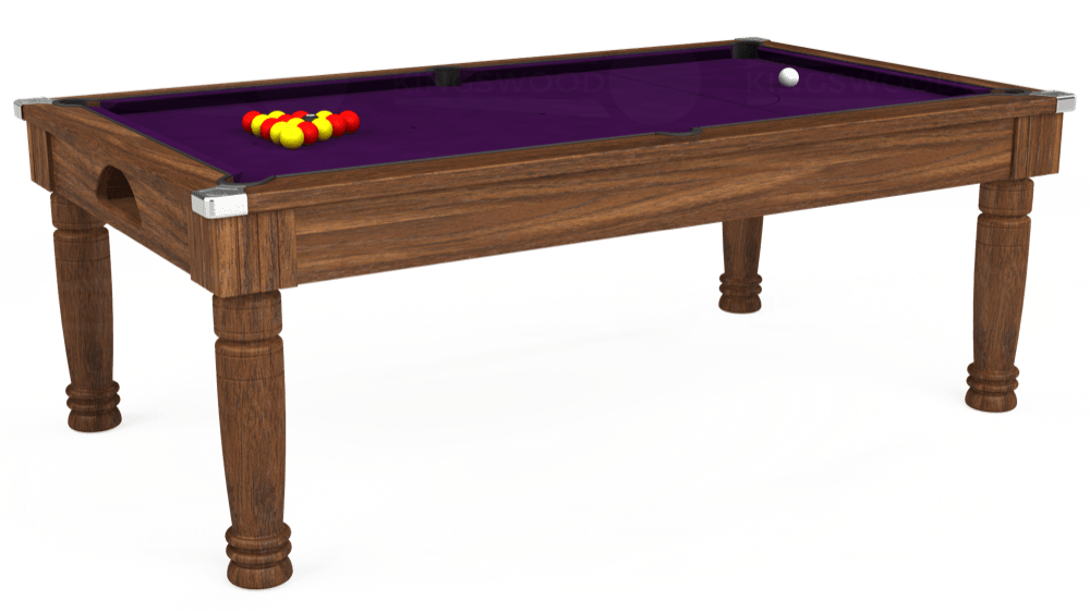 7ft Majestic Pool Dining Table in Dark Walnut with Hainsworth Elite-Pro Purple cloth delivered and installed - £1,280.00