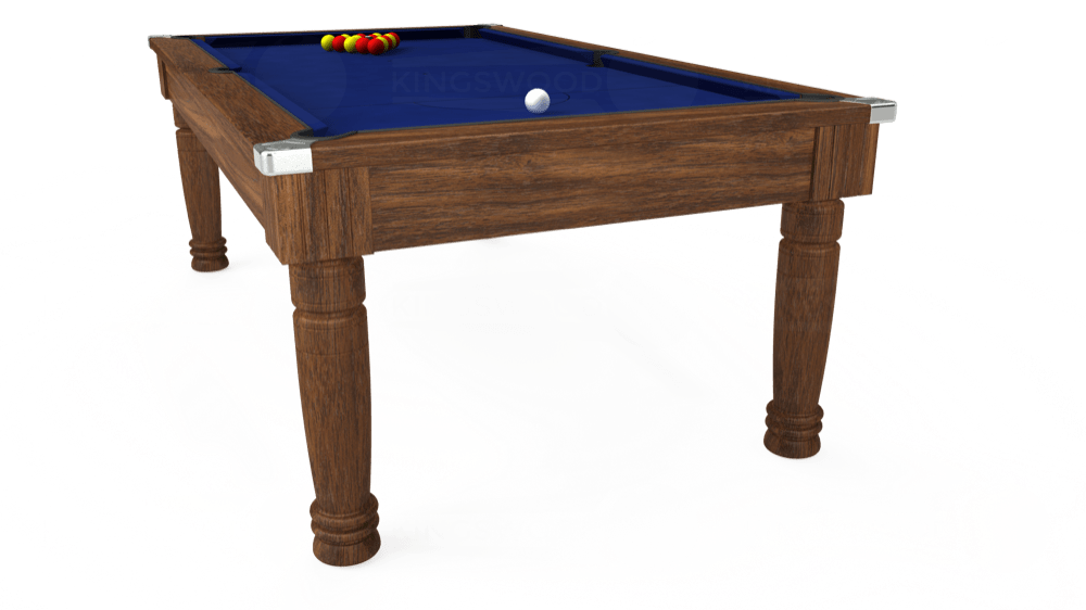 7ft Majestic Pool Dining Table in Dark Walnut with Hainsworth Elite-Pro Royal Blue cloth delivered and installed - £1,280.00