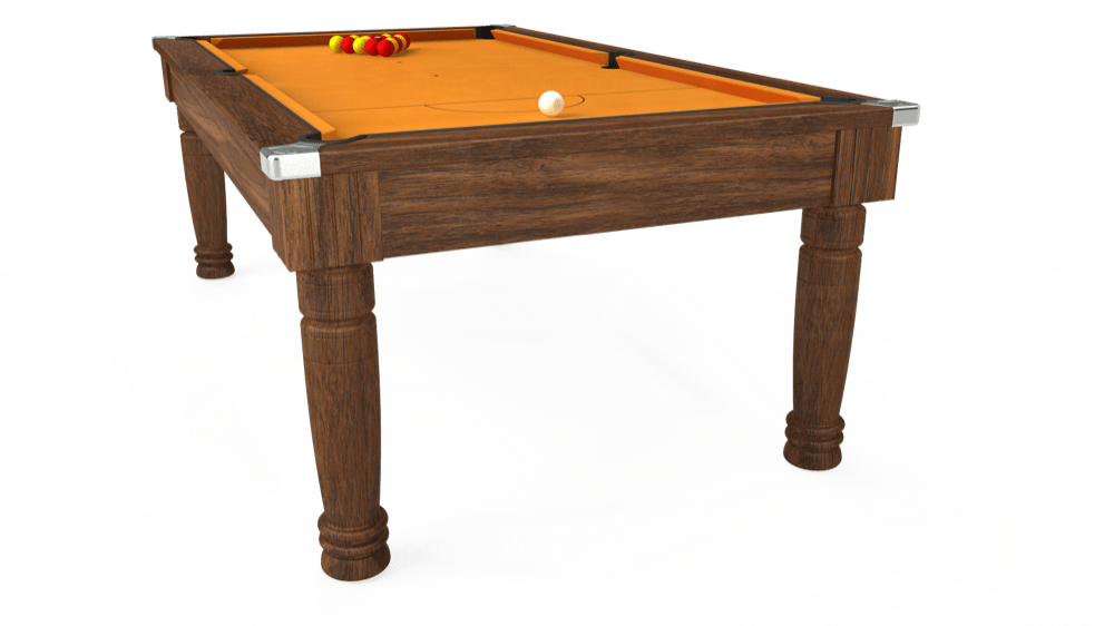 7ft Majestic Pool Dining Table in Dark Walnut with Hainsworth Smart Gold cloth delivered and installed - £1,280.00
