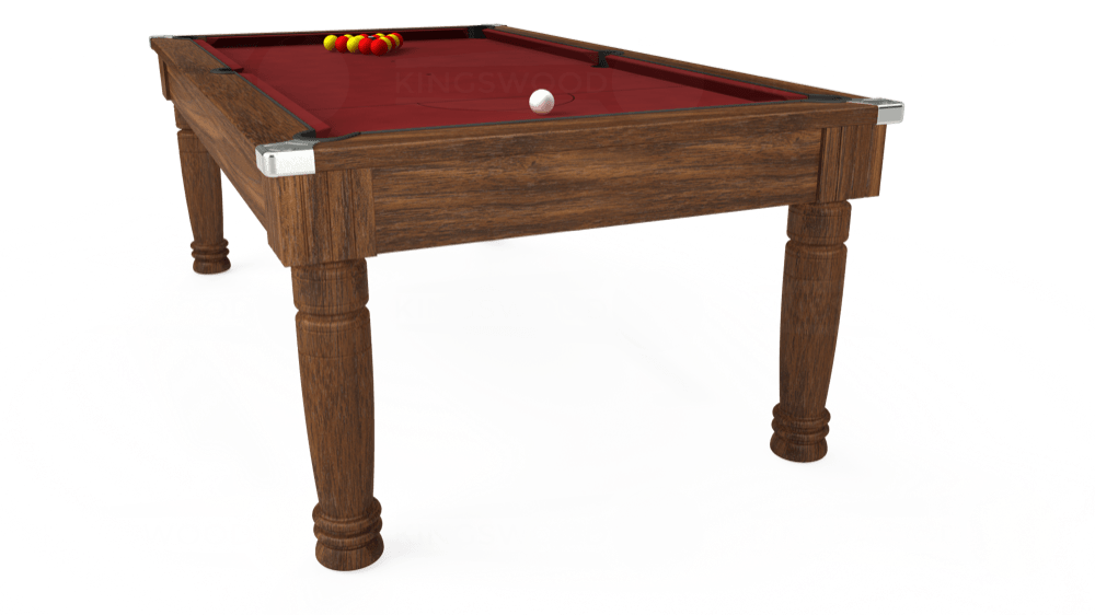 7ft Majestic Pool Dining Table in Dark Walnut with Hainsworth Smart Maroon cloth delivered and installed - £1,280.00