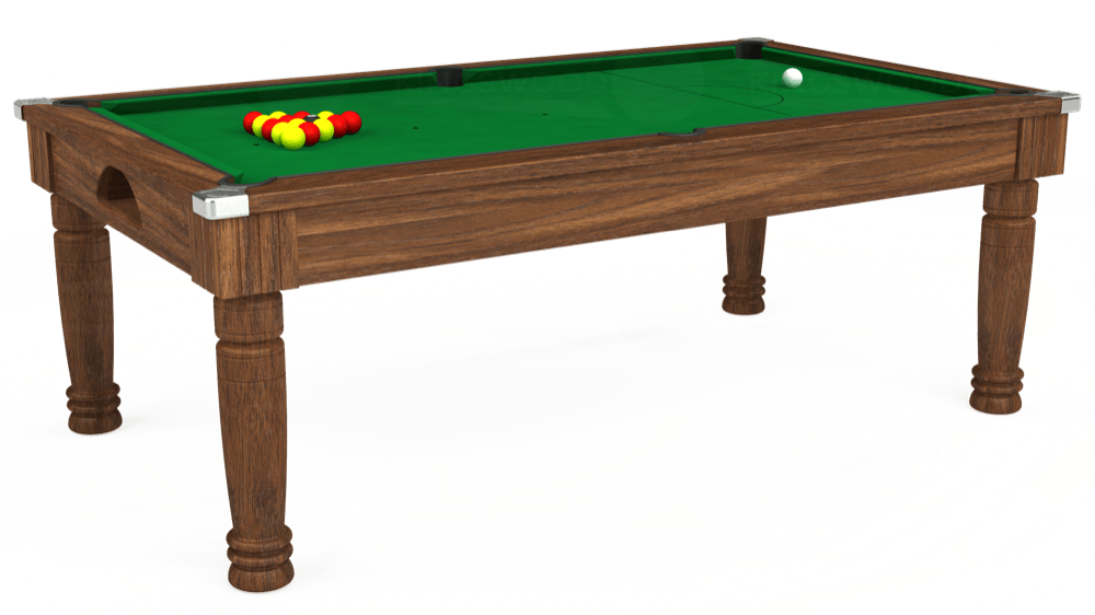 7ft Majestic Pool Dining Table in Dark Walnut with Hainsworth Smart Olive cloth delivered and installed - £1,280.00