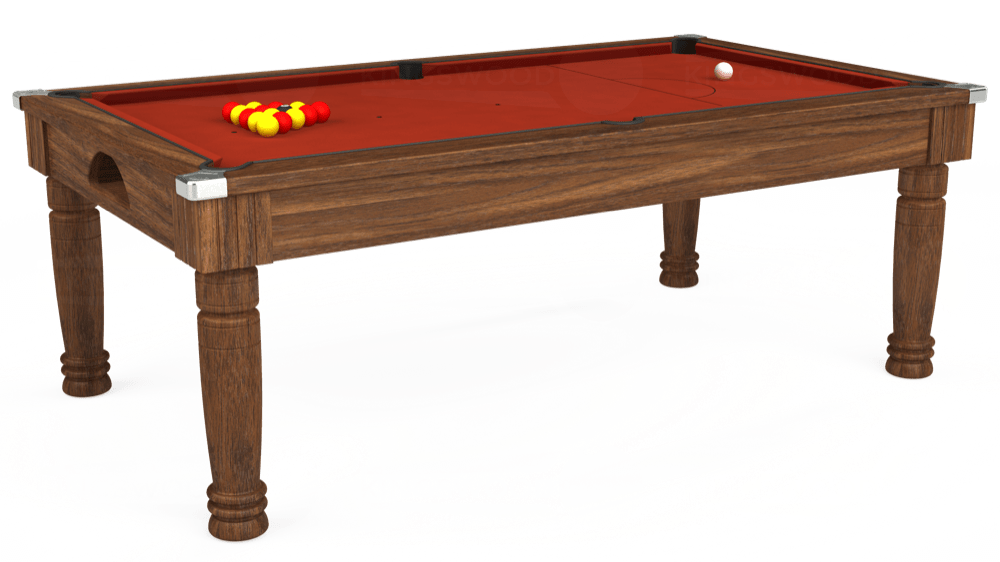 7ft Majestic Pool Dining Table in Dark Walnut with Hainsworth Smart Paprika cloth delivered and installed - £1,280.00