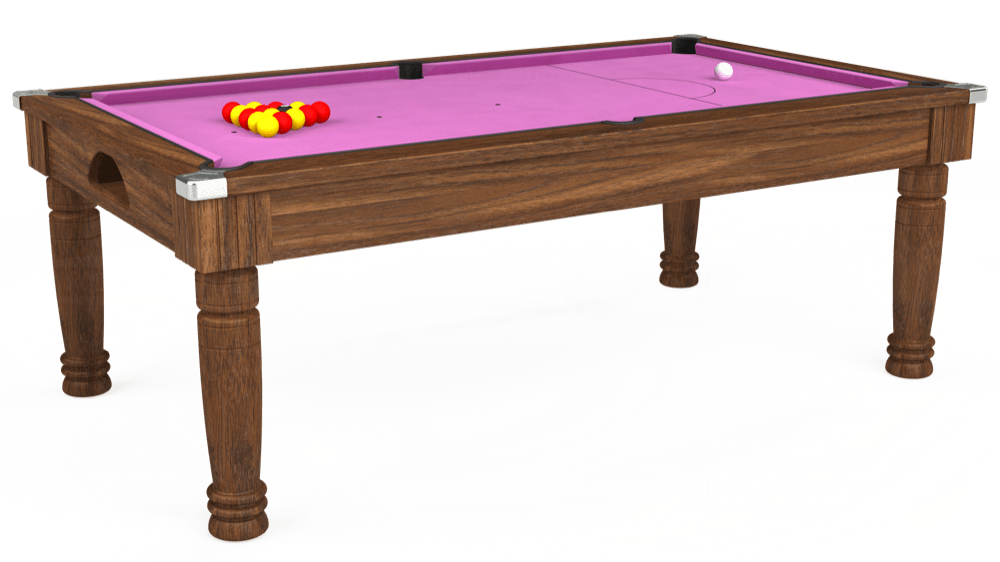 7ft Majestic Pool Dining Table in Dark Walnut with Hainsworth Smart Pink cloth delivered and installed - £1,280.00