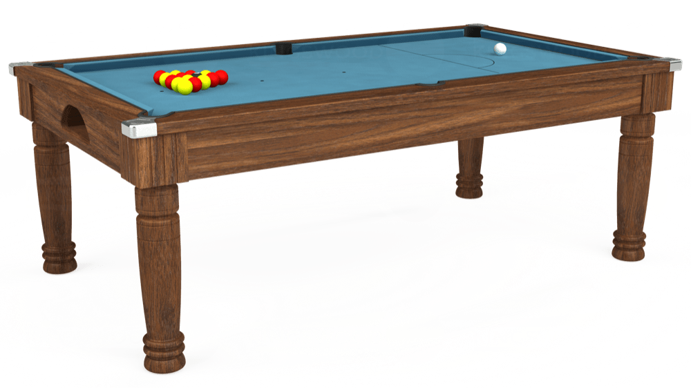 7ft Majestic Pool Dining Table in Dark Walnut with Hainsworth Smart Powder Blue cloth delivered and installed - £1,280.00