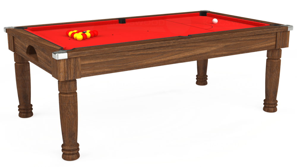 7ft Majestic Pool Dining Table in Dark Walnut with Hainsworth Smart Red cloth delivered and installed - £1,280.00