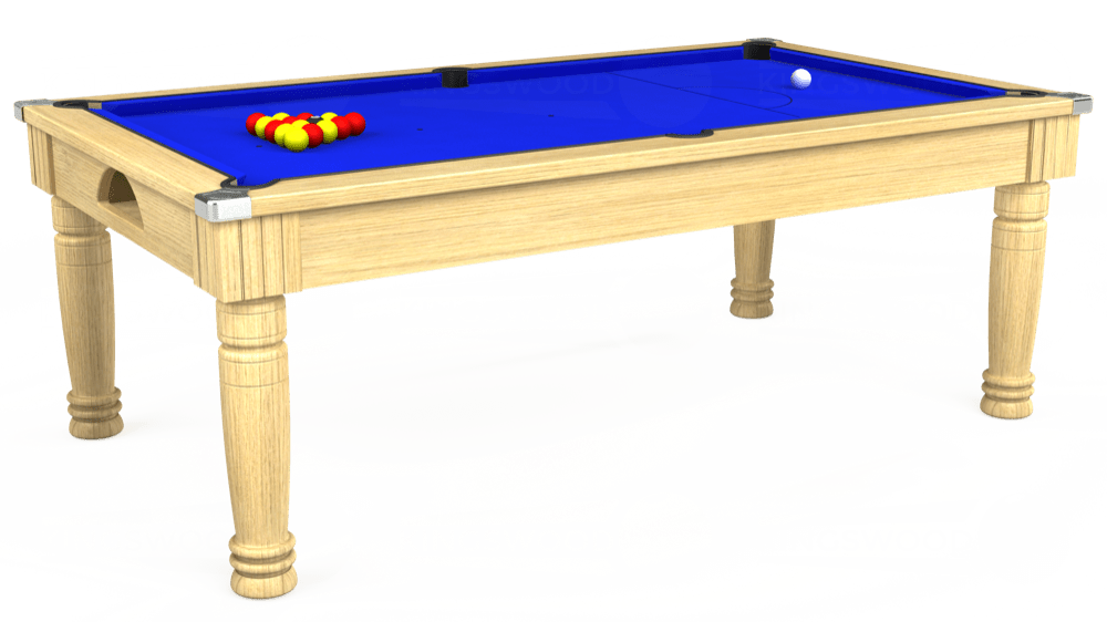 7ft Majestic Pool Dining Table in Light Oak with Standard Blue cloth delivered and installed - £1,180.00