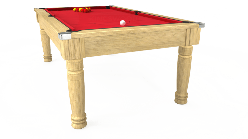 7ft Majestic Pool Dining Table in Light Oak with Standard Red cloth delivered and installed - £1,180.00