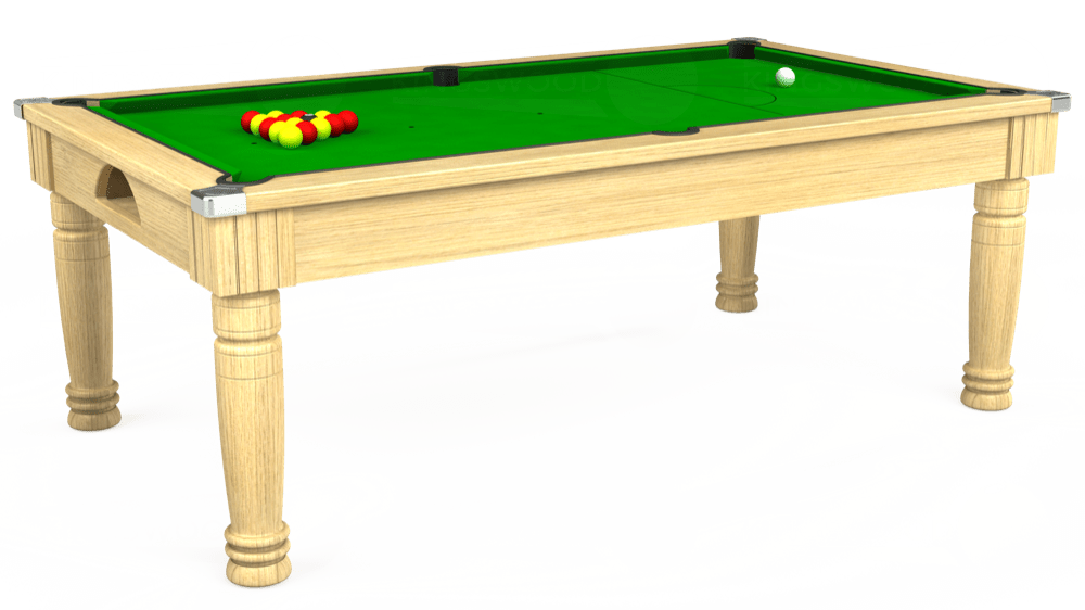 7ft Majestic Pool Dining Table in Light Oak with Standard Green cloth delivered and installed - £975.00