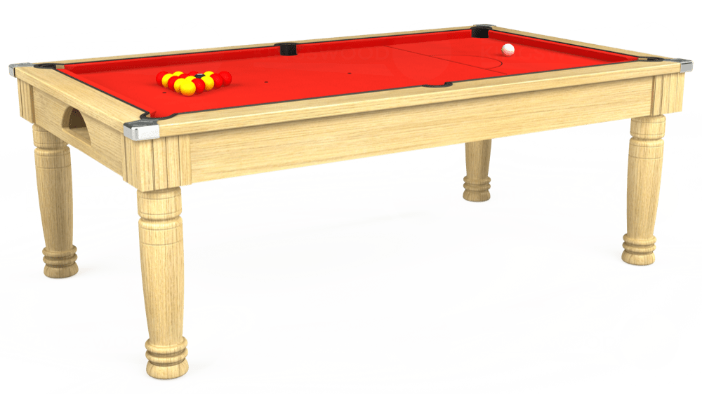 7ft Majestic Pool Dining Table in Light Oak with Hainsworth Elite-Pro Bright Red cloth delivered and installed - £1,280.00