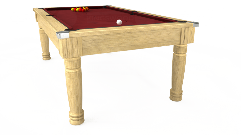 7ft Majestic Pool Dining Table in Light Oak with Hainsworth Elite-Pro Burgundy cloth delivered and installed - £1,280.00