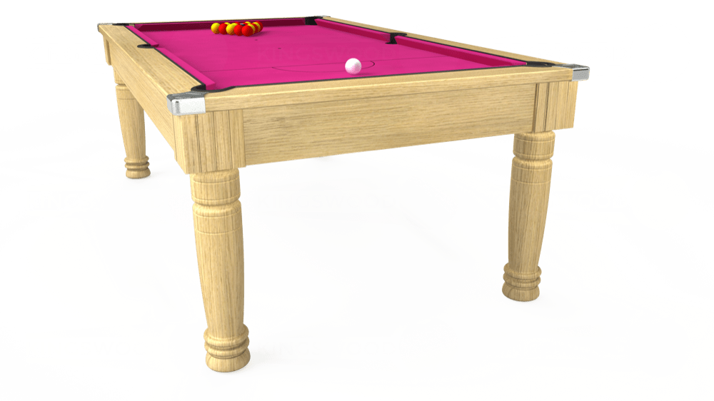 7ft Majestic Pool Dining Table in Light Oak with Hainsworth Elite-Pro Fuchsia cloth delivered and installed - £1,280.00