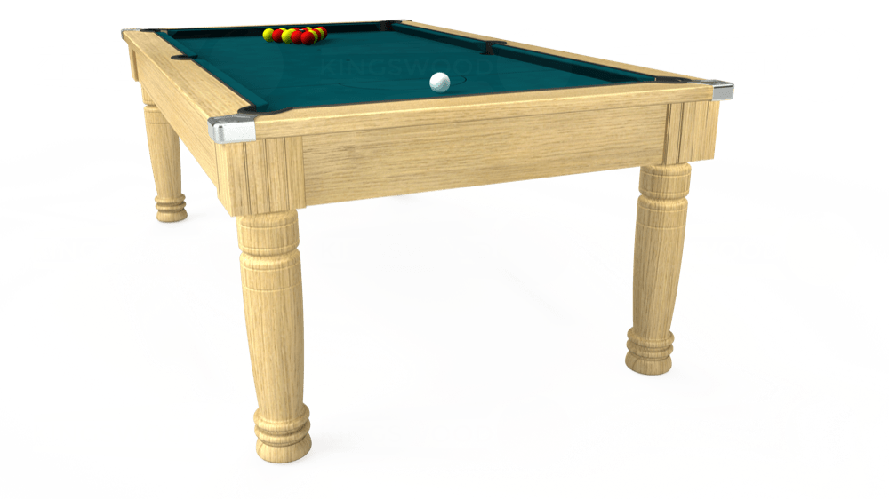 7ft Majestic Pool Dining Table in Light Oak with Hainsworth Elite-Pro Petrol Blue cloth delivered and installed - £1,280.00