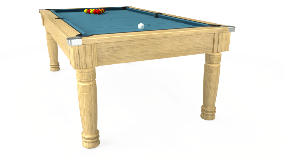 7ft Majestic Pool Dining Table in Light Oak with Hainsworth Elite-Pro Powder Blue cloth delivered and installed - £1,280.00