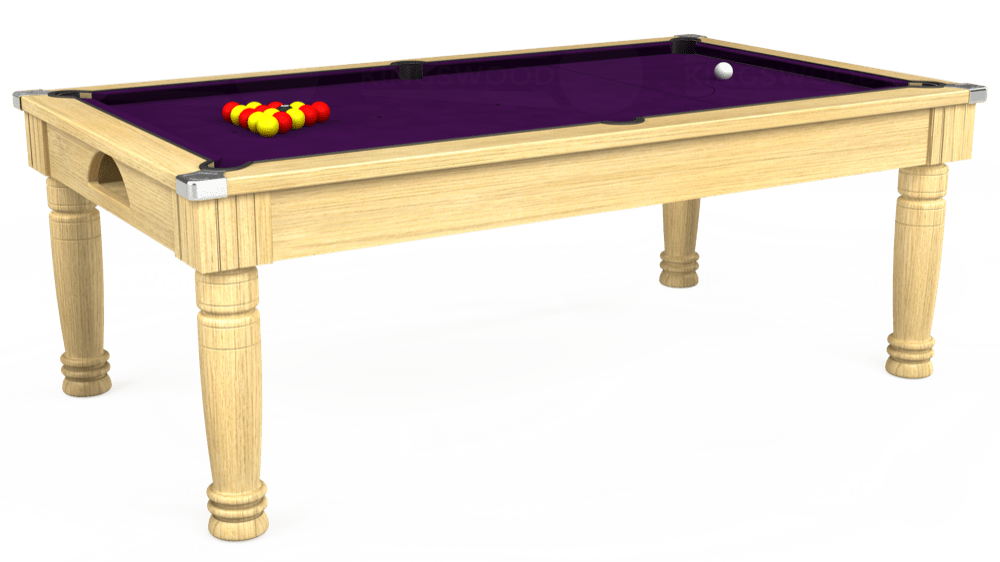 7ft Majestic Pool Dining Table in Light Oak with Hainsworth Elite-Pro Purple cloth delivered and installed - £1,280.00